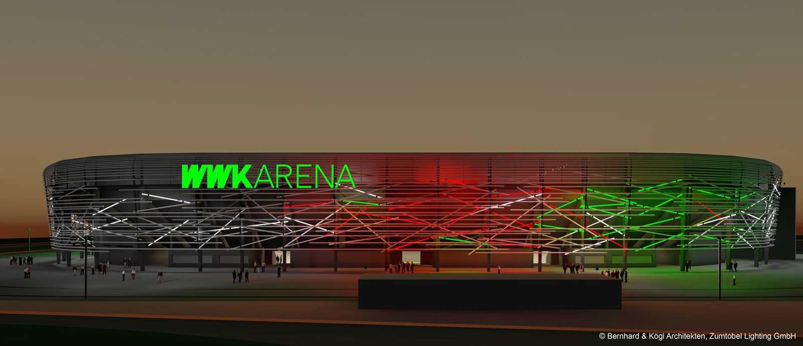 da strahlt augsburg stadion des fc augsburg bekommt neue fassade rock antenne. Black Bedroom Furniture Sets. Home Design Ideas