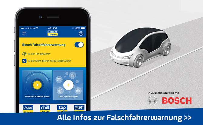 ANTENNE BAYERN und Bosch warnen jetzt per App vor Falschfahrern