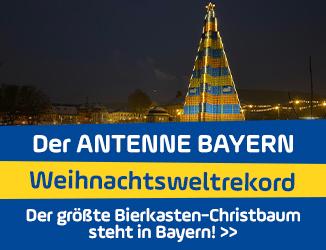 ANTENNE BAYERN Weihnachtsweltrekord geglückt: Der größte Bierkasten-Christbaum steht in Bayern!
