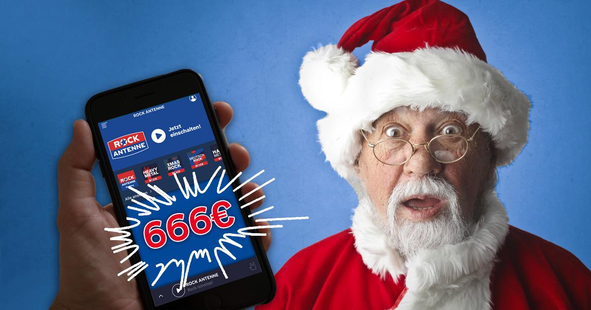 Fest(lich) APProcken: ROCK ANTENNE App downloaden & 666 Euro Weihnachtsgeld abstauben!