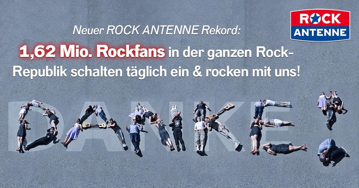 ROCK ANTENNE sagt DANKE: 1,62 Mio. Rockfans rocken mit uns jeden Tag!