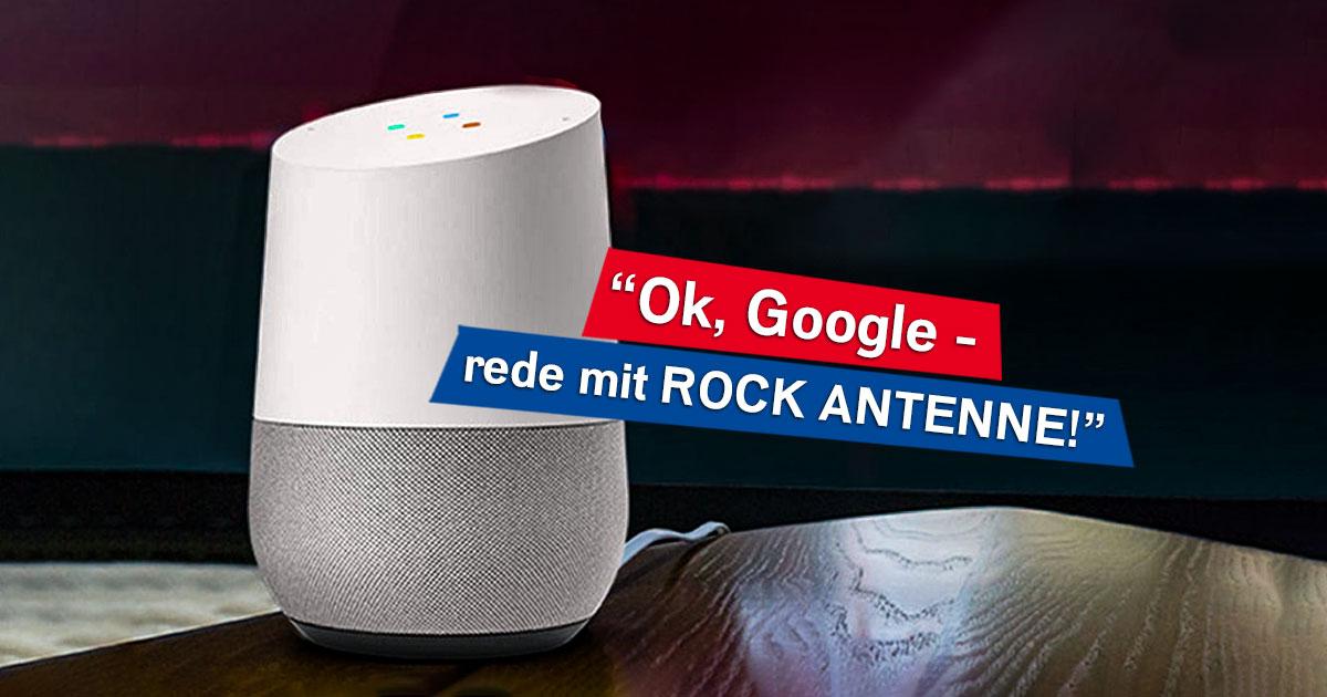 Hört ROCK ANTENNE mit dem Smart Speaker von Google!