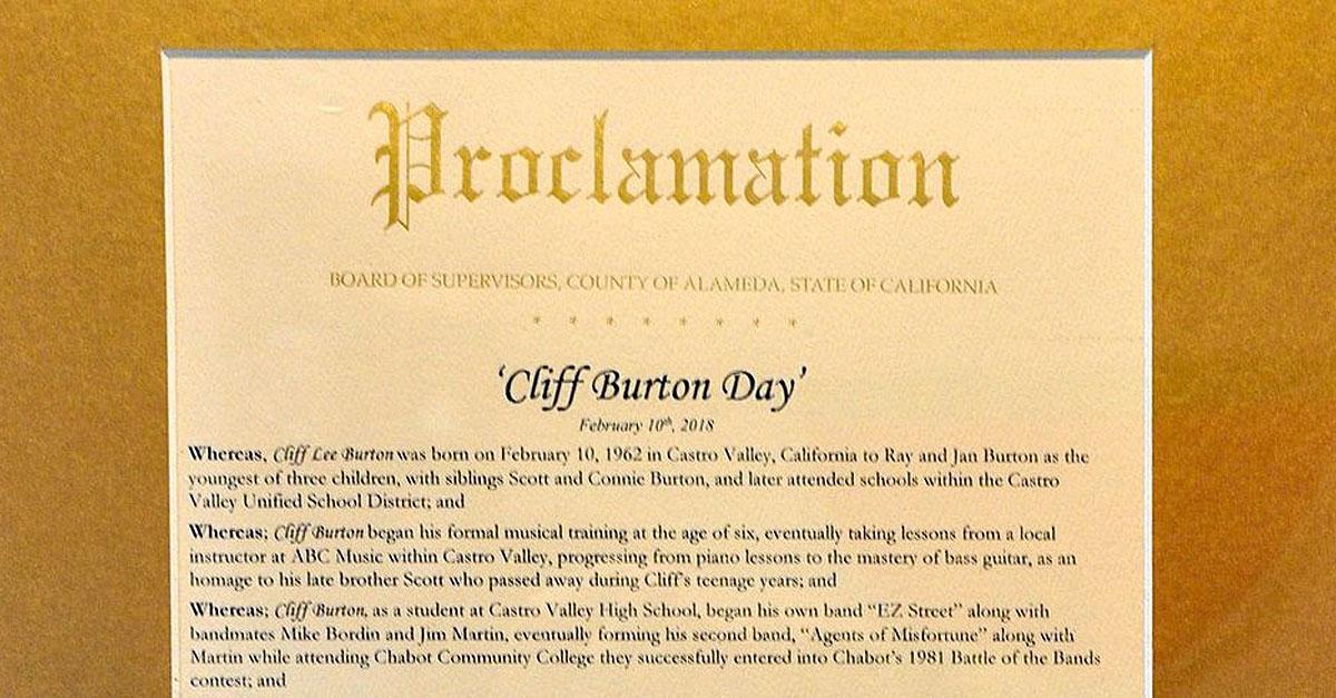 Metallica: Castro Valley feiert den Cliff Burton Day!