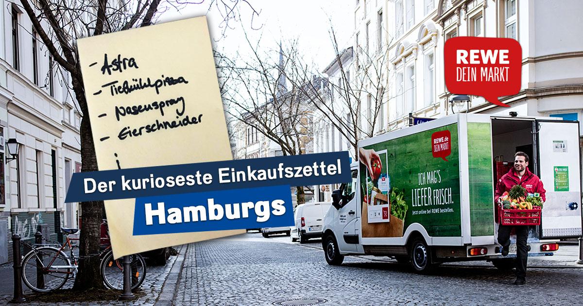 Der kurioseste Einkaufszettel Hamburgs: Mitmachen und REWE Lieferservice Gutscheine abstauben!
