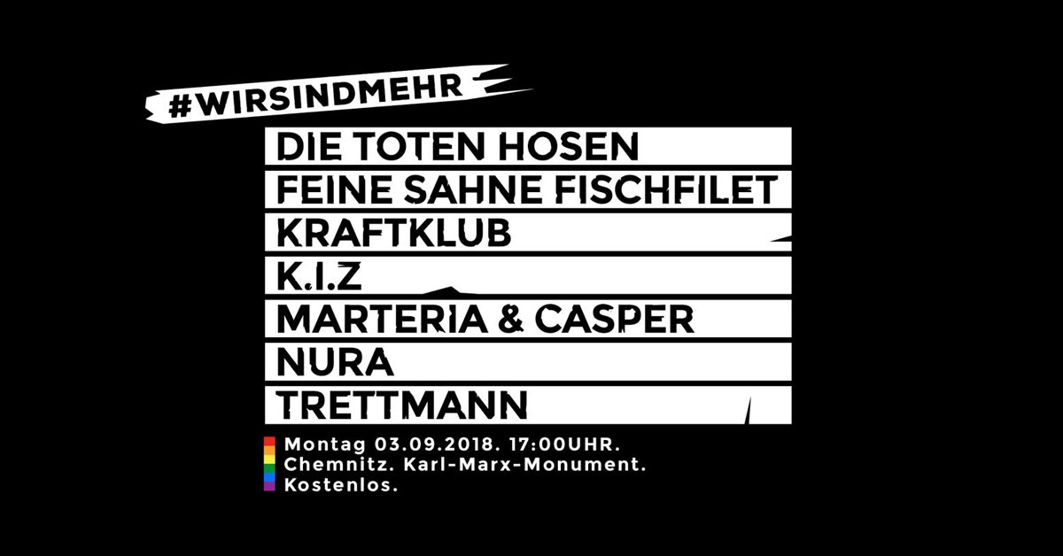 Gegen Fremdenhass: Die Toten Hosen und Kraftklub spielen Gratis-Gig in Chemnitz