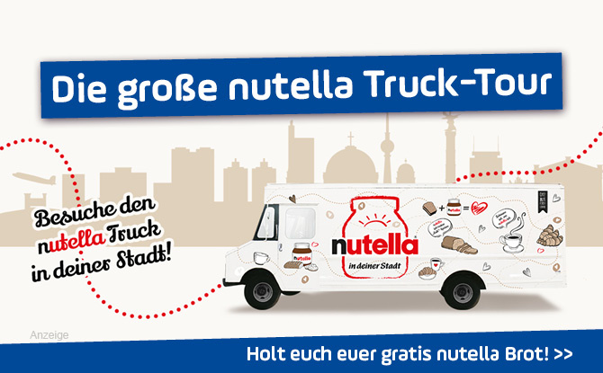 Die große nutella Truck-Tour: Holt euch euer nutella Brot - for free