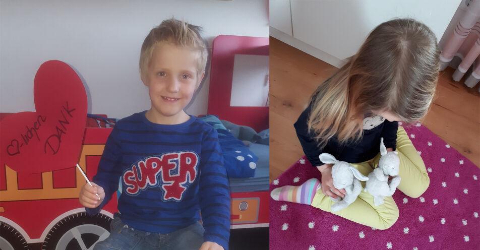 Bayerns Kinder halten in schlaflosen Nächten zusammen: Osterhofenerin verleiht Hasi an Milo aus Aschaffenburg