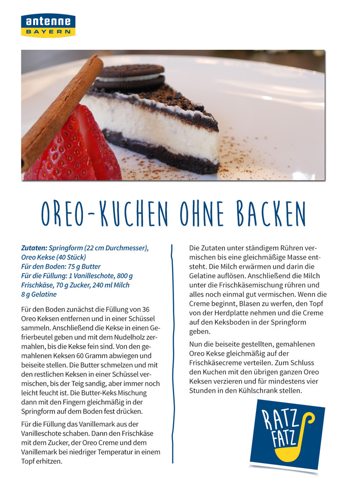 Oreo Kuchen Ohne Backen Antenne Bayern