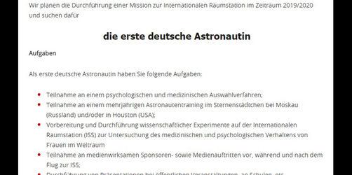 Stellenanzeige: Erste deutsche Astronautin gesucht