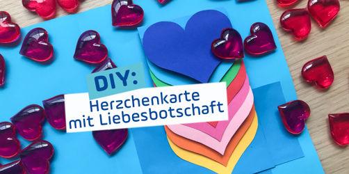 Herzchen-Karte mit versteckter Liebes-Botschaft zum Valentinstag