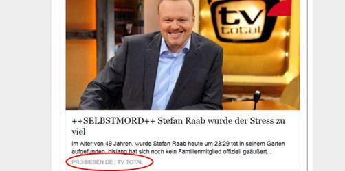 Facebook-Falle: Gefälschte Todesnachricht von Stefan Raab