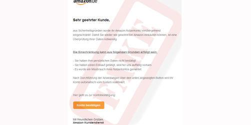 Amazon Konto gesperrt? Neue Betrugsmails im Umlauf!