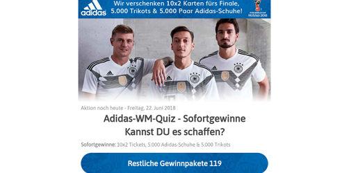 """Tickets, Trikots, Schuhe: Vorsicht bei angeblichem """"Adidas-WM-Gewinnspiel"""""""