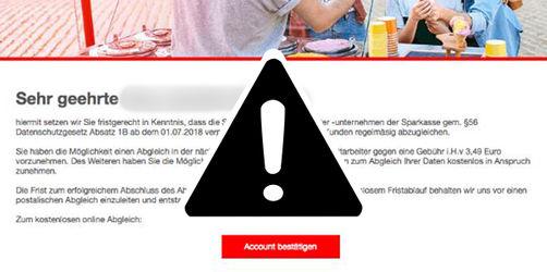 Sparkassen-Abzockmails: Als offizielle Mitteilung der Bank getarnt