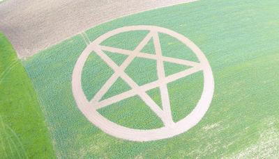 Riesiges Pentagramm im Feld: Bad Abbacherin als Land-Art-Künstlerin