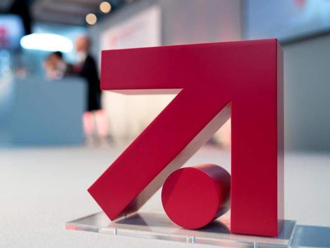 Das Logo der ProSiebenSat.1 Media AG ist in der Konzernzentrale auf einemPodium zu sehen. /Archivbild
