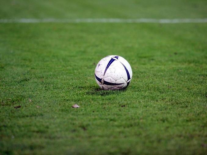 Ein Fußball liegt auf dem Rasen. /Archivbild