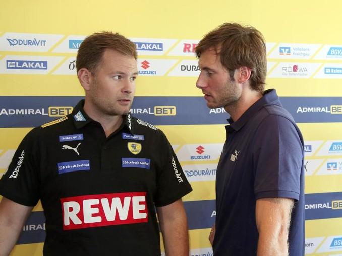 Neu bei den Rhein-Neckar Löwen: Trainer Kristjan Andresson (l) und Rückkehrer Uwe Gensheimer.