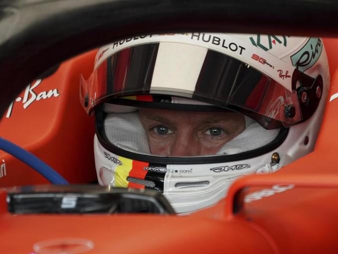 Konzentriert: Ferrari-Pilot Sebastian Vettel. /AP/dpa