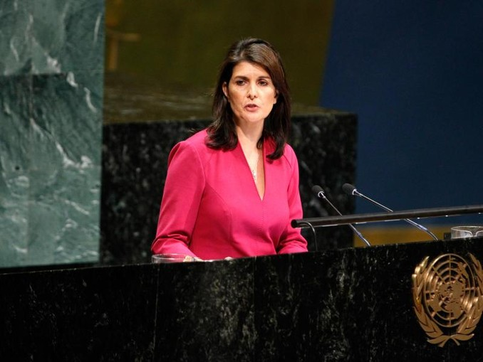 Nikki Haley, Botschafterin der USA bei den Vereinten Nationen, spricht im Rahmen der UN-Generalversammlung im Hauptquartier der Vereinten Nationen. /Xinhua