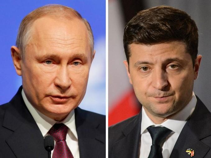 Russlands Staatspräsident Wladimir Putin (l) und Wolodymyr Selenskyj, Staatspräsident der Ukraine. /The Canadian Press/AP