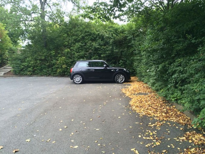 Der Mini auf dem Parkplatz