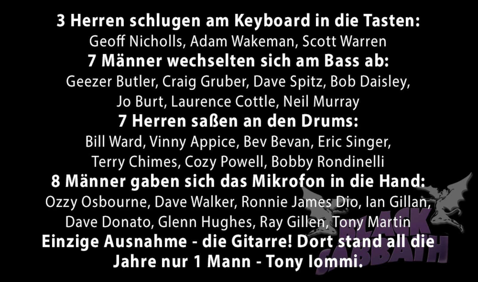 Black Sabbath in Zahlen