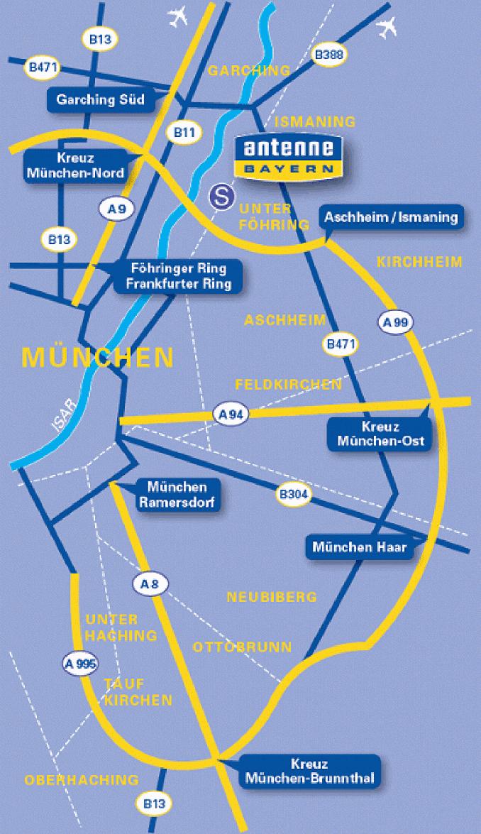 Antenne Bayern Anfahrtsskizze