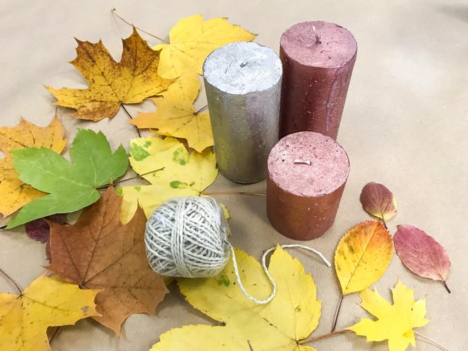 DIY Kerzen mit Laub, Herbstdeko