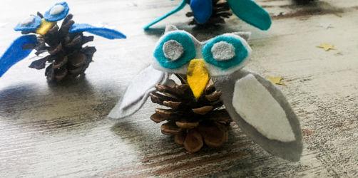 DIY: Eulen aus Tannenzapfen basteln
